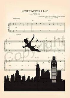 Peter Pan Silhouette Neverland Sheet Music Art Print #artprint #music #homedecor #wallart #kids #gifts #famliy #kidsroom #prints #art #fineart #etsy #Disney