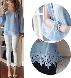 Light blue lace accent top blouse long sleeve