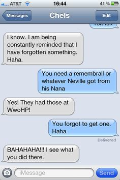 Poor @Chelsea Terry. I like to tease her that she has a memory like Neville. o-o