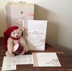RARE HTF STEIFF LITTLE DRUMMER BOY MOHAIR CHRISTMAS TEDDY BEAR COA LTD ED NIB #Christmas