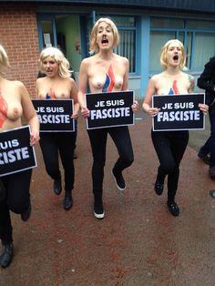 Les #Femen moustachues, 10 minutes avant l'arrivée de Marine Le Pen à Hénin-Beaumont #Dep2015