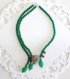 Jade and pyrite necklace
