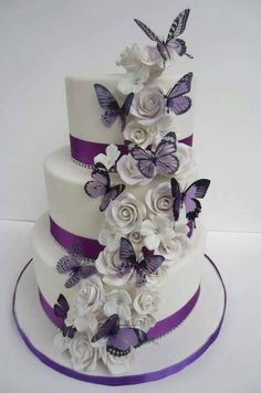White Rose n Butterfly Cake