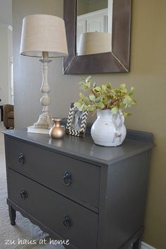 Small Dresser Makeover with Urbane Bronze Paint from Sherwin Williams. Love the color.