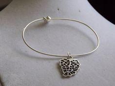 Silver Leaf Bangle by treasuredheros1 on Etsy