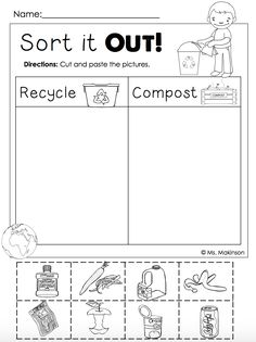 FREE!! - Earth Day Printables - Recycling and Compost (cut and paste)