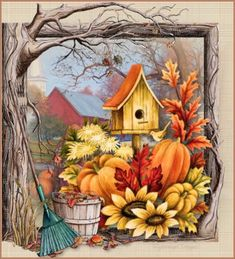 This photo was uploaded by Barbara_Wyckoff - Fall pumpkin art illustration Autumn Painting, Autumn Art, Tole Painting, Image Halloween, Fall Halloween, Pintura Tole, Country Paintings, Fall Pictures, Country Art