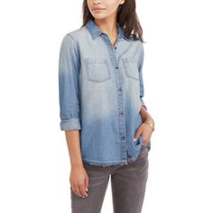 Faded Glory Women's Denim Boyfriend Woven Shirt, Size: Large, Gray