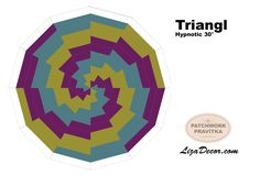 "Patchwork Triangl Hypnotic - Trojúhelník 30° 9"" #patchwork #triangl #trojuhelnik #tutorial #video #templates #vzory #šablony"
