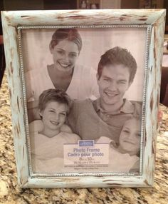 8x10 vintage inspired picture frame, light blue&brown on Etsy, $14.00