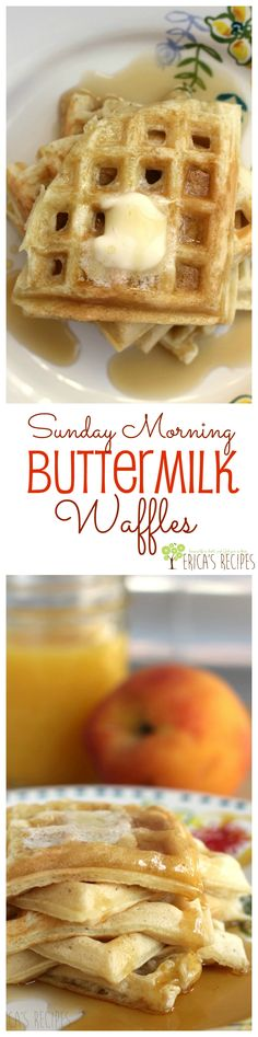Sunday Morning Buttermilk Waffles from EricasRecipes.com. Make breakfast in bed for that special someone with these delicious fluffy waffles.