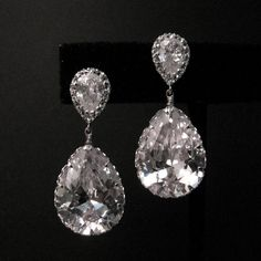 Clear white teardrop cz on teardrop cz post by DesignByKara, $38.00