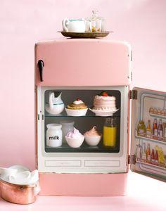 pink vintage mini fridge