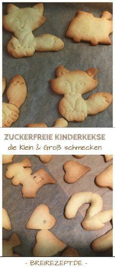 Diese Kinderkekse ohne Zucker sind leicht zu backen und eignen sich auch als Babykekse ab dem 10.Monat: https://www.breirezept.de/rezept_weihnachtskekse_ohne_zucker.html