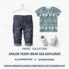 Little Sailor fabric by Floweryhat Sea Explorer, Spoonflower, Sailor, Kids Fashion, Teddy Bear, Collections, Wallpaper, Children, Fabric