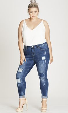 Fashion Bug Plus Size Patched Petite Skinny Harley Jean #FashionBug #PlusSize #Jeans www.fashionbug.us