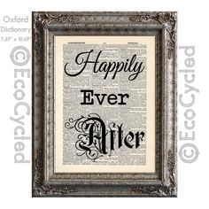 New to EcoCycled on Etsy: Happily Ever After Word Art 2 Romance on Vintage Upcycled Dictionary Art Print Book Art Print Repurposed Recycled Love Wedding Anniversary (10.00 USD)