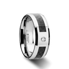 WESTMORELAND Tungsten Carbide Ring with Black Carbon Fiber and White Diamond Setting with Bevels   8mm