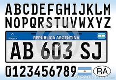 Argentina car plate license design, new Mercosur organization serie, South America