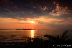 Summer Sunset off de western coast of Corfu, Peloponnese Western Greece, Ionian Island_ Greece