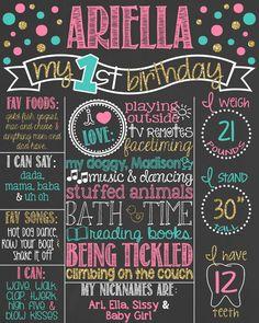 Pink, Teal and Gold Glitter First Birthday Chalkboard Poster // Girl 1st Birthday Chalk Board // Custom Printable // Girl // Polka Dots