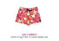 "DAILY AMERICA - Shorts di ""My T-Shirt"" in cotone stampa rase"