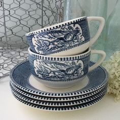 Do you know anyone that collects these Currier and Ives dishes? Well if you do, this set of two cups and four saucers are available at the Cottage. #shopCottageBlu