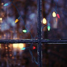 гирлянда, лампы, свет, огни, фотография, окно