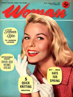 Woman Magazine Cover - March '59 Vintage Magazines, Pop Culture, March, Woman, Cover, Stuff To Buy, Fashion, Moda, Fashion Styles