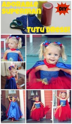 Simple instructions for a Superman inspired tutu dress! Add a cape and a bow for an adorable costume. Tutu Dress Tutorial, Dress Tutorials, Black Widow Kostüm, Superhero Halloween Costumes, Halloween 2015, Robes Tutu, Diy Tutu, Trendy Baby, Kids Fashion