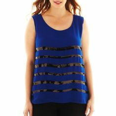 a.n.a® Sequin-Stripe Tank Top - Plus