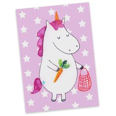 Postkarte Einhorn Gemüse aus Karton 300 Gramm  weiß - Das Original von Mr. & Mrs. Panda.  Diese wunderschöne Postkarte aus edlem und hochwertigem 300 Gramm Papier wurde matt glänzend bedruckt und wirkt dadurch sehr edel. Natürlich ist sie auch als Geschenkkarte oder Einladungskarte problemlos zu verwenden. Jede unserer Postkarten wird von uns per hand entworfen, gefertigt, verpackt und verschickt.    Über unser Motiv Einhorn Gemüse  Die Einhorn-Edition ist eine ganz besonders liebevolle und…