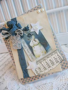 —looks nice, almost *nostalgic*, reminds me of Little Bear/ Sophie's Christmas story [Beautiful vintage snowman card