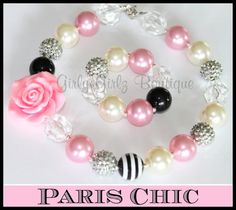 SALE SALE Paris Chic Girls Chunky bubblegum necklace by GirlyGirlzBoutique12 on Etsy, $12.50 #paris #necklace Little Girl Jewelry, Kids Jewelry, I Love Jewelry, Jewelry Crafts, Jewelry Design, Jewelry Making, Chunky Bead Necklaces, Chunky Jewelry, Chunky Beads
