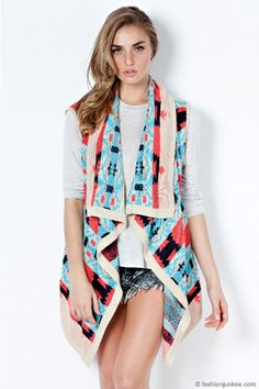 Page Need a vest, cardigan, or scarf to complete your chic style while adding a pop of color? Browse through our wide variety of outerwear to find what's missing! Tribal Print Cardigan, Aztec Sweater, Cardigan Sweaters For Women, Cardigans, Bohemian Style Clothing, Black Vest, Knit Vest, Outerwear Women