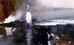 """Dark Waters""   Great Egret"