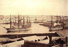 This photo could have been taken (if you had a time machine, of course) in 1805 or 1855 (it was taken around then). A Royal Navy squadron comprising a first rate guns) and 3 x third rates guns) at anchor, Grand Harbour, Malta. Old Pictures, Old Photos, Malta History, Old Sailing Ships, Sailing Boat, Malta Gozo, Malta Island, Ship Of The Line, Navy Aircraft