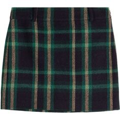 Polo Ralph Lauren Wool-Alpaca Tartan Skirt (£115) ❤ liked on Polyvore featuring skirts, green, checked skirt, green tartan skirt, preppy skirts, polo ralph lauren and plaid skirt