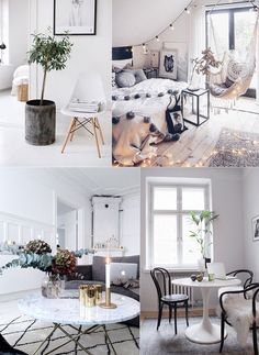 1. Light calming colors: light grey, pastel pink, white (& all colors of nature) 2. Soft lightning: lamps that are dimmable, fairy lights, placing table and floor lamps in nearly every corner (I have only 1 roof lamp that I never turn on :D). + candles of course 3. Plants & fresh flowers, having a piece of nature …