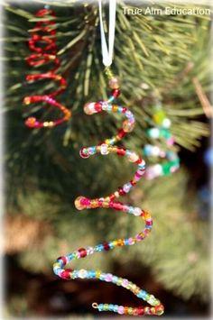 Beaded homemade Christmas Tree ornaments for kids - Christmas craft ideas for… Kids Christmas Ornaments, Noel Christmas, Christmas Crafts For Kids, Xmas Crafts, Christmas Projects, Christmas Decorations, Christmas Ideas, Christmas Photos, Party Crafts