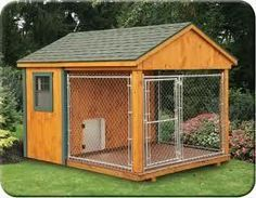 Love the idea of this dog kennel for our 1.2 acre unfenced backyard. Keep paws off the ground, and climbing super dogs in the kennel!
