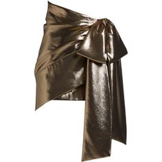 Saint Laurent Tie-side ruched lamé mini skirt ($1,690) ❤ liked on Polyvore featuring skirts, mini skirts, gold, ruched skirt, bow mini skirt, yves saint laurent skirt, brown mini skirt and ruched mini skirt