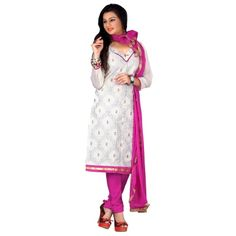 Gorgeous White & Pink Coloured Embroidered Salwar Kameez
