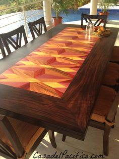 This is a close up of an Inlay Wood Table made in Costa Rica with many of the exotic woods available here. Custom made, Casa del Pacifico designs and ships wood furniture all over the world.