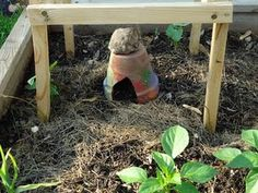 Toad house: this will encourage toads to live in your garden (they eat slugs). Made from a painted pot. My Aunts always had these in their flower gardens! Great use of broken pots. Sometimes they would bury them half in the dirt on their sides if not broken already.