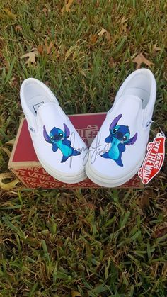lilo & Stitch vans on Mercari Disney Painted Shoes, Custom Painted Shoes, Disney Shoes, Vans Custom, White Nike Shoes, Nike Air Shoes, Cute Stitch, Lilo Stitch, Vans Shoes Fashion