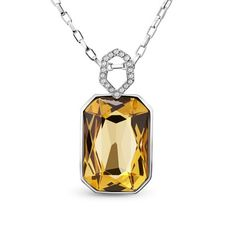 Pretty Design 18K Gold Plated Necklace, with Coffee Austria Crystal Pendant, Platinum; Size:about 420mm in perimeter; Pendant: 30x21mm; Chain Extension:50mm.<br/>Priced per 1