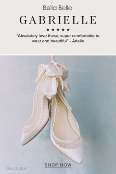 A slingback pump for brides in a beautiful classic ivoruy color with the prettiest scattered pearls embroidery. Brides love the silk bow at the back. Made for a modern and elegant bride. Pearl Embroidery, Elegant Bride, Wedding Heels, Ivory Pearl, Slingback Pump, Brides, Bows, Pumps, Silk