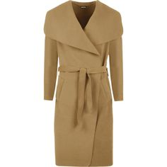 WearAll Zena Open Belted Oversized Waterfall Coat (47 AUD) ❤ liked on Polyvore featuring outerwear, coats, camel, wrap coat, waterfall coat, camel coat, oversized coat and camel wrap coat