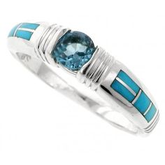 Inlaid Sterling Silver Ring - Native American Jewelry, Sterling Silver, Navajo Jewelry handmade by Supersmiths | Black Arrow - Black Arrow Indian Art